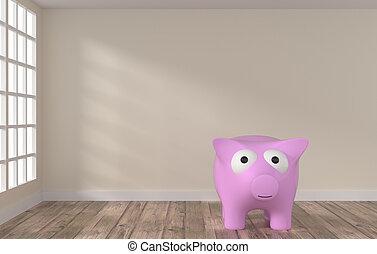 sala, com, grande, banco piggy cor-de-rosa