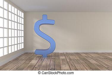 sala, com, grande, dólar, ícone