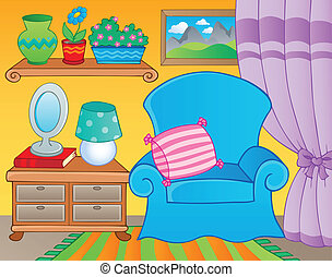 sala, com, mobília, tema, imagem, 2