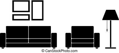 sala, com, mobília