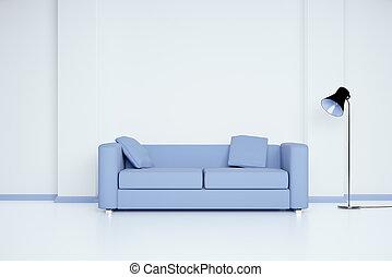 sala, com, sofá azul