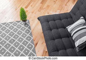 sala, con, simple, decoración