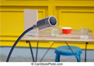 sala, conferência, fim, condensador, cima, microfone