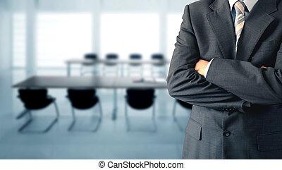 sala, conferência, homem negócios