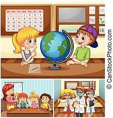 sala crianças aula, aprendizagem, professor