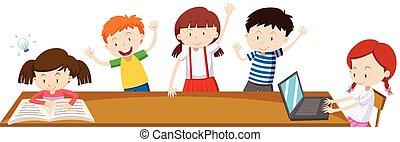 sala crianças aula, aprendizagem
