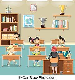 sala crianças aula, levantamento, mãos