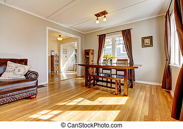 sala da pranzo, con, marrone, tenda, e, legno duro, floor.