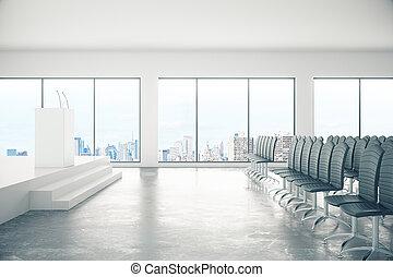 sala de conferencias, con, opinión de la ciudad