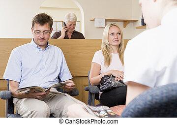sala de espera, y, recepción
