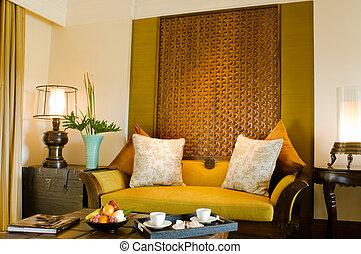 sala de estar, área, hotel, contemporâneo, recurso, conjunto