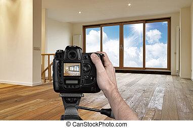 sala de estar, câmera, digital, fotografar, vazio, homem