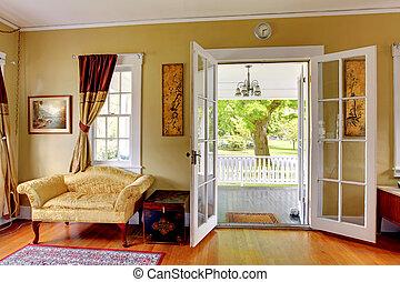 sala de estar, com, abertos, portas, para, a, frente,...
