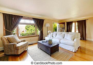 sala de estar, com, antigüidade, mobília