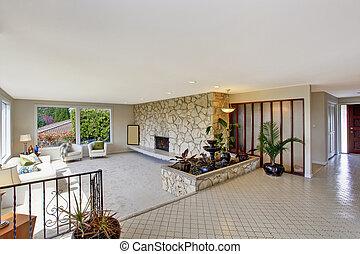 sala de estar, com, chafariz, em, luxo, casa