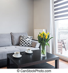 sala de estar, com, confortável, sofá