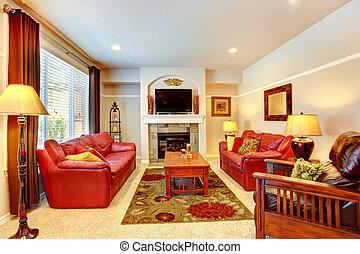 sala de estar, com, lareira, e, tv, em, luxo, casa