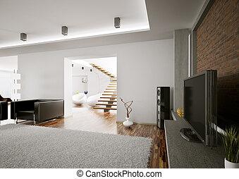 sala de estar, com, lcd, interior, 3d, render