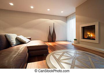 sala de estar, com, um, lareira