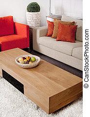 sala de estar, con, el, clásico, sofás