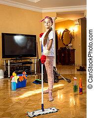 sala de estar, cotonete, chão, limpeza, menina, adolescente