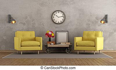 sala de estar, dois, amarela, retro, poltronas