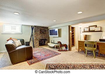 sala de estar, e, escritório, área, em, antigas, casa