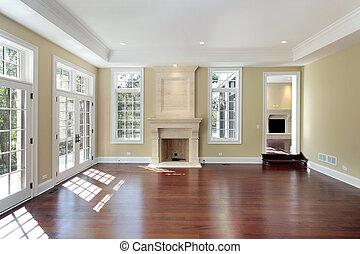 sala de estar, em, novo, construção, lar