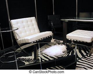 sala de estar, em, preto branco