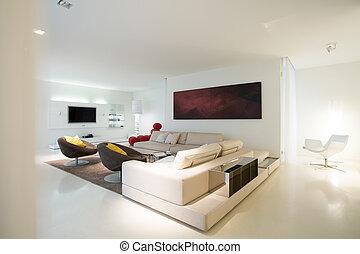 sala de estar, em, puro, residência