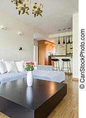 sala de estar, espaçoso, sofá