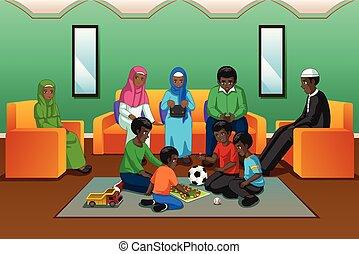 sala de estar, família, muçulmano, africano, tocando