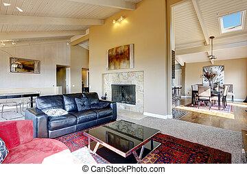 sala de estar, interior, com, alto, teto, em, luxo, casa
