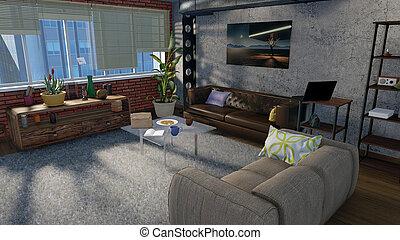 sala de estar, interior, em, apartamento sótão, 3d, render