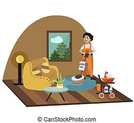 sala de estar, limpa, equipamento, profissional, homem
