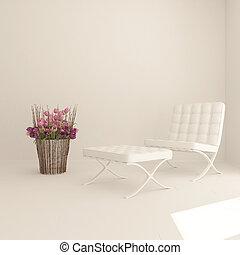 sala de estar, moderno contemporâneo, interior, 3d, mobília