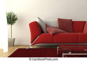 sala de estar, modernos, detalhe, desenho, interior