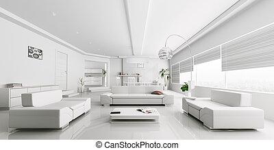 sala de estar, modernos, fazendo, interior, branca