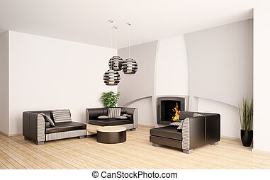 sala de estar, modernos, interior, lareira, 3d