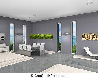 sala de estar, modernos, jantar, interior, abertos