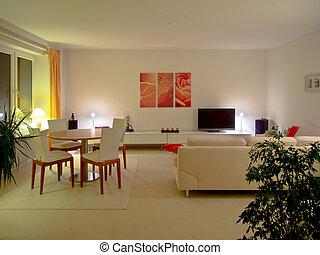 sala de estar, noturna
