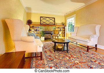 sala de estar, ouro, dois, sofás, luxo, branca