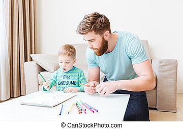 sala de estar, pai, filho, lar, desenho