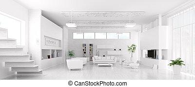 sala de estar, panorama, modernos, interior, branca