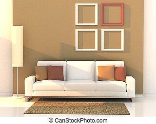 sala de estar, quarto moderno