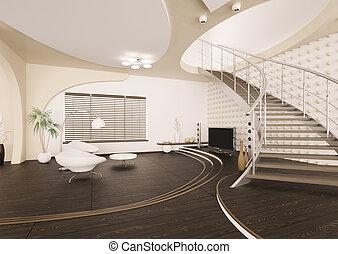 sala de estar, render, modernos, interior, 3d