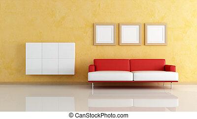 sala de estar, sofá, laranja, branco vermelho