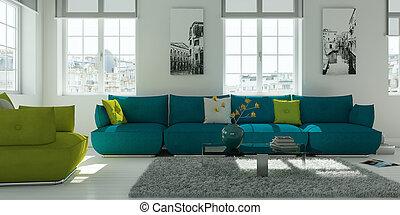 sala de estar, sofá, modernos, desenho, interior, verde branco