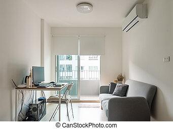 sala de estar, trabalhando, tabela