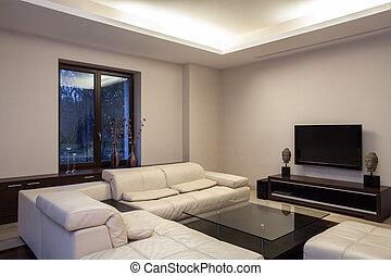 sala de estar, travertine, casa, -, cosy
